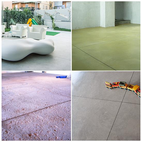 Alcuni lavori di pavimento in cemento massello in opera